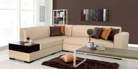 Alden Rhs Sectional Sofa In Light Brown