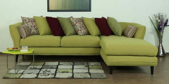 Aleandro LHS Three Seater Sofa With Lounger U0026 Cushions In Olive Green Colour