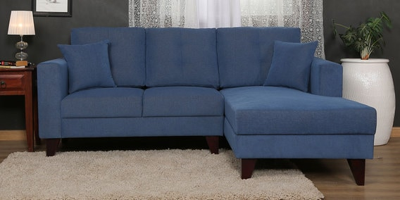 Alfredo LHS Two Seater Sofa With Lounger And Cushions In Denim Blue Colour