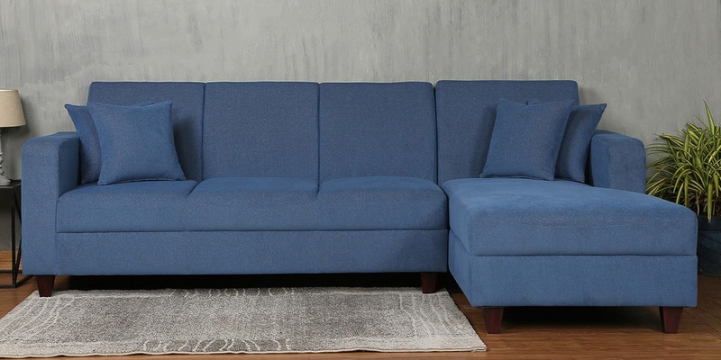 Alba LHS Three Seater Sofa with Lounger and Cushions in Denim Blue Colour by CasaCraft
