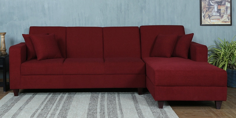 Alba LHS Three Seater Sofa with Lounger and Cushions in Garnet Red Colour by CasaCraft