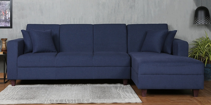 Alba LHS Three Seater Sofa with Lounger and Cushions in Navy Blue Colour by CasaCraft