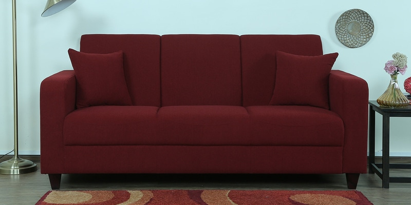 Alba Three Seater Sofa in Garnet Red Colour by CasaCraft