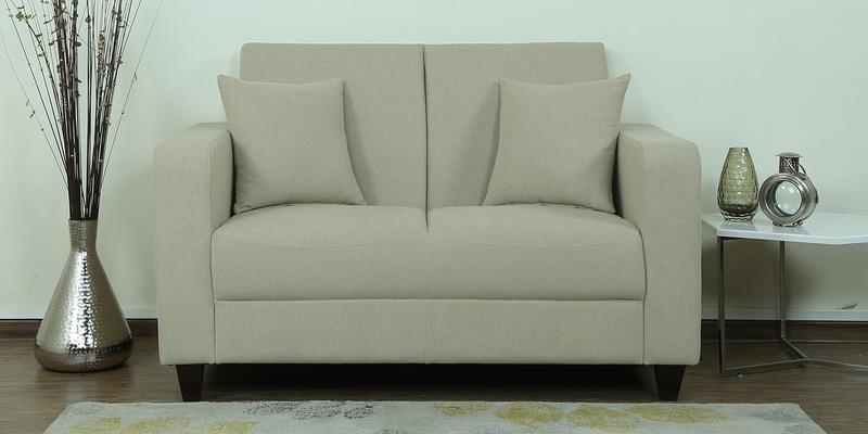 Alba Two Seater Sofa in Beige Colour by CasaCraft