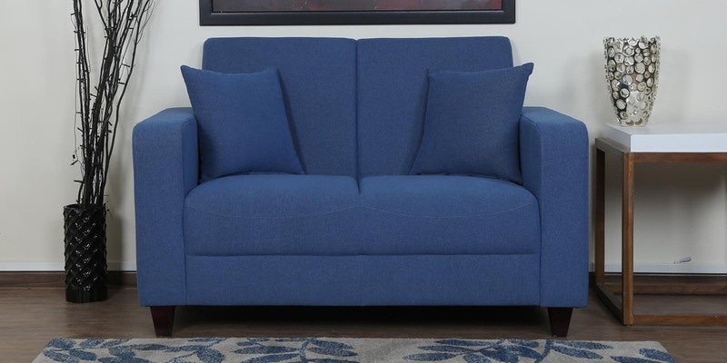 Alba Two Seater Sofa in Denim Blue Colour by CasaCraft