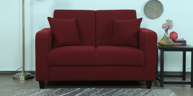 Alba Two Seater Sofa in Garnet Red Colour by CasaCraft