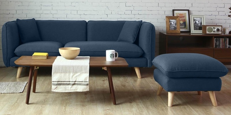 Albany Three Seater Sofa with Ottoman in Blue Colour by CasaCraft