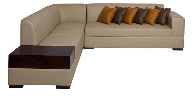 Buy Alden Rhs Sectional Sofa In Light Brown Leatherette By