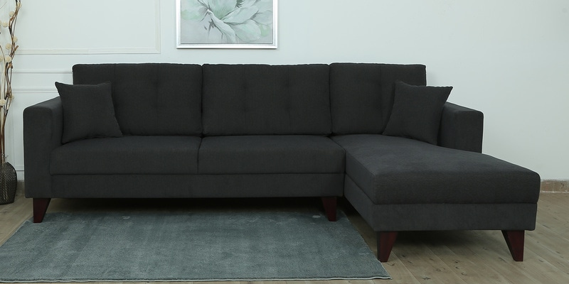 Alfredo LHS Three Seater Sofa with Lounger and Cushions in Charcoal Grey Colour by CasaCraft
