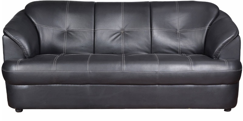 Buy Alto Three Seater Leatherette Sofa In Black Colour By