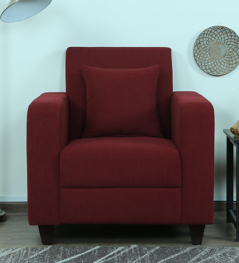 Alba One Seater Sofa in Garnet Red Colour by CasaCraft