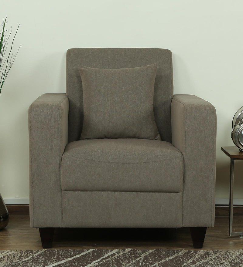 Alba One Seater Sofa in Sandy Brown Colour by CasaCraft