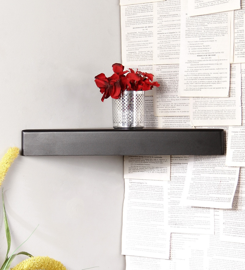 Black Engineered Wood Corner Wall Shelves by Home Sparkle