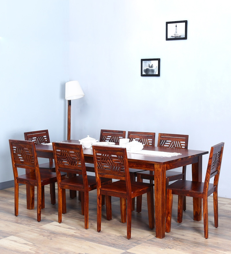 Alder Eight Seater Dining Set in Honey Oak  Finish by Woodsworth