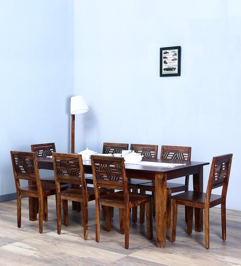 Alder Eight Seater Dining Set in Provincial Teak Finish by Woodsworth