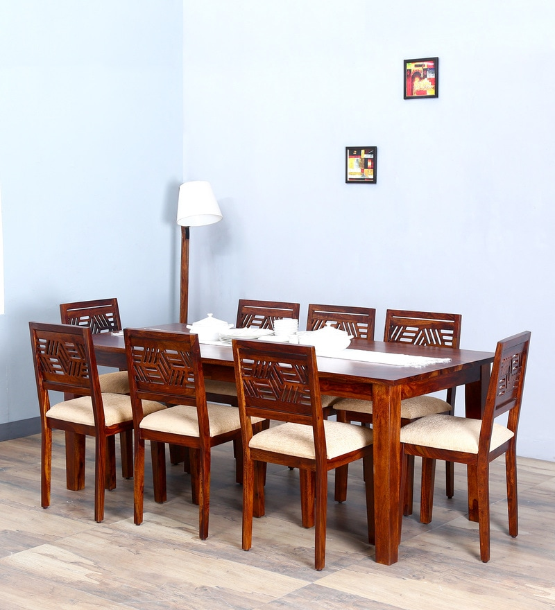 Alder Eight Seater Cushioned Dining Set in Honey Oak  Finish by Woodsworth