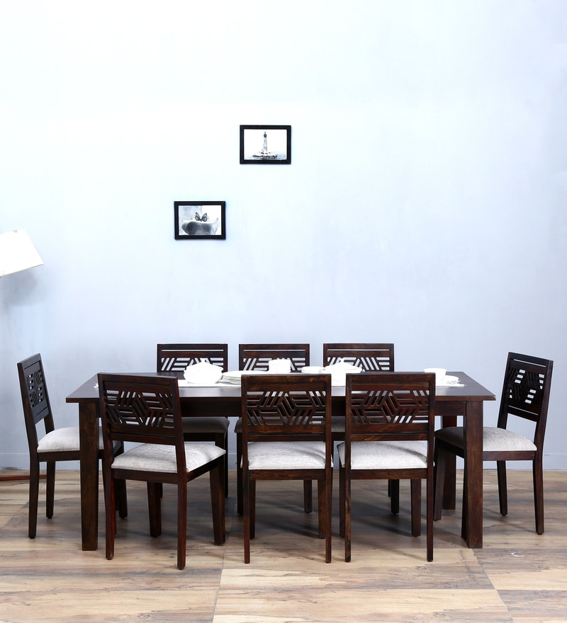 Buy Alder Eight Seater Cushioned Dining Set in Warm Chestnut