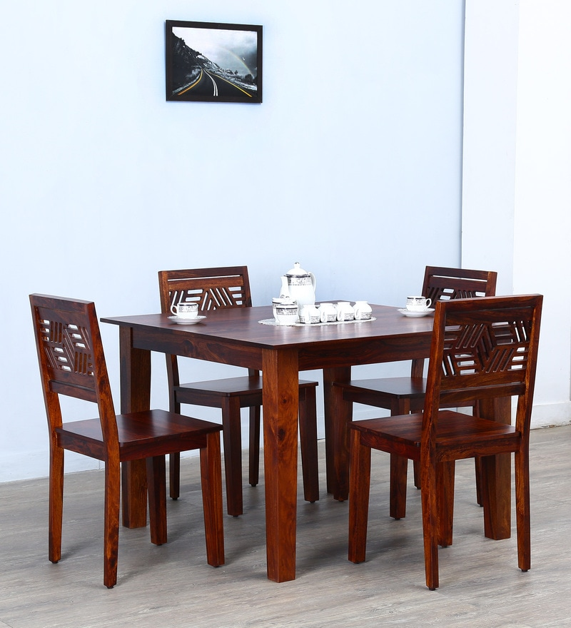 Alder Four Seater Dining Set in Honey Oak  Finish by Woodsworth