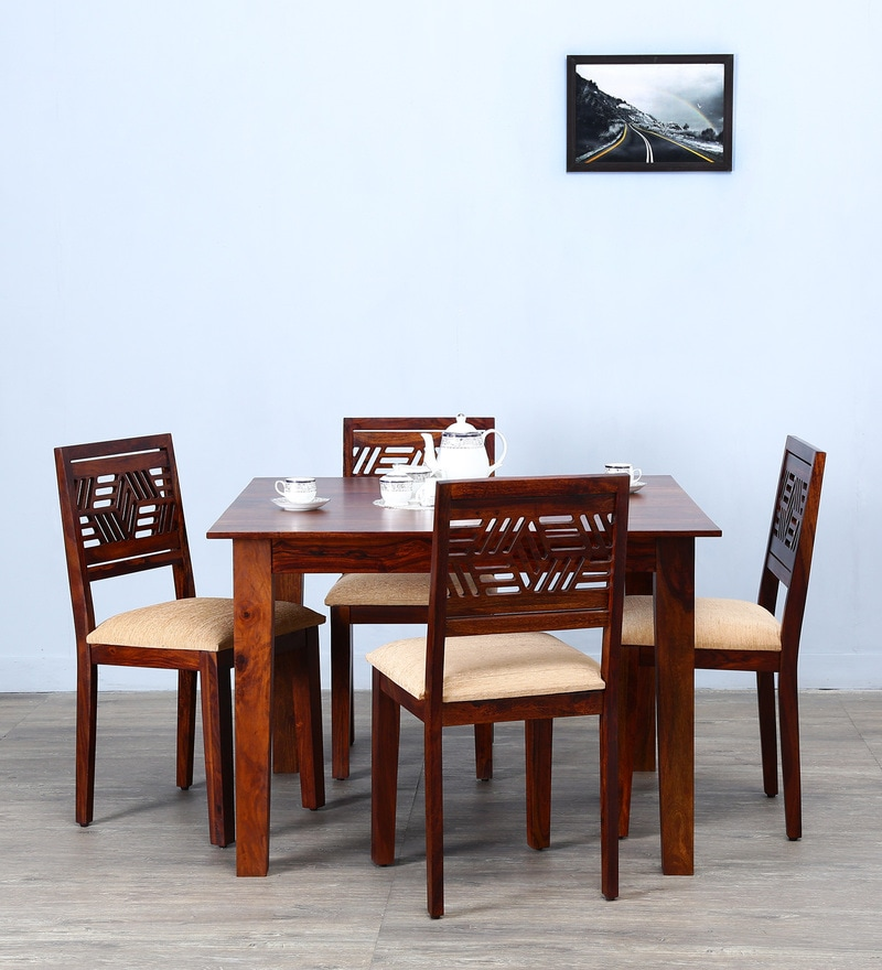 Alder Four Seater Cushioned Dining Set in Honey Oak  Finish by Woodsworth