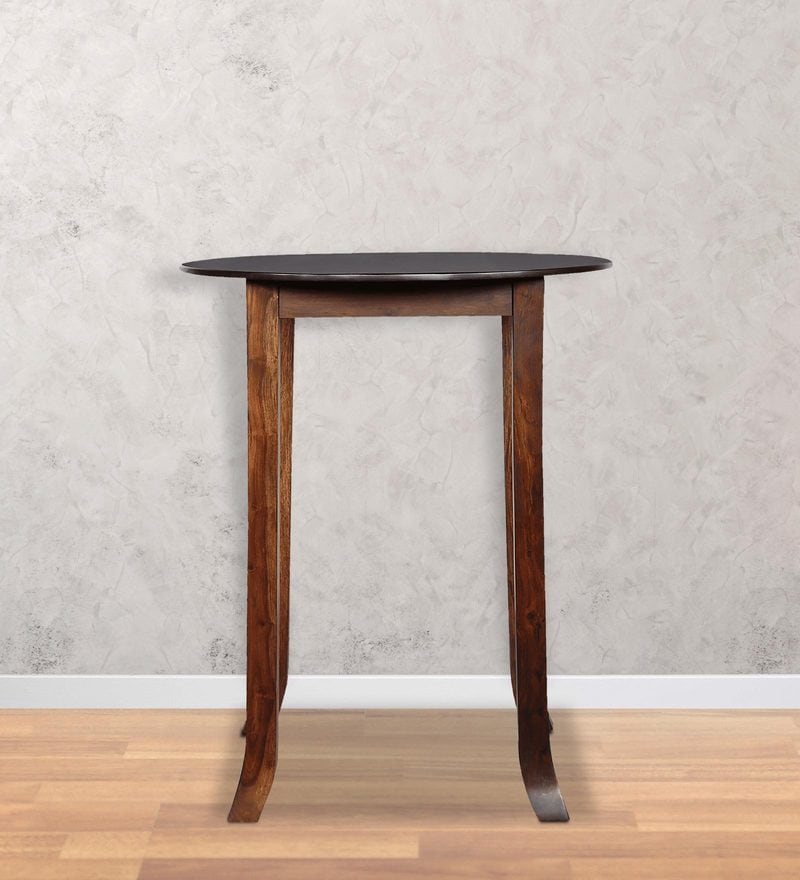 Alder Round High Dining Table in Provincial Teak Finish by Woodsworth