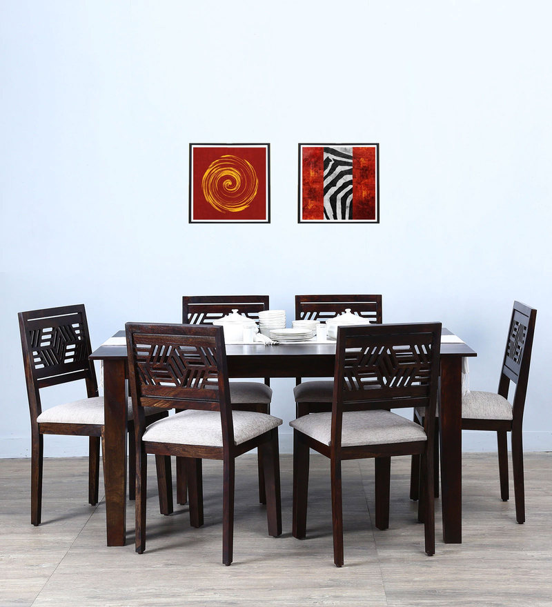 Alder Six Seater Cushioned Dining Set in Warm Chestnut Finish by Woodsworth