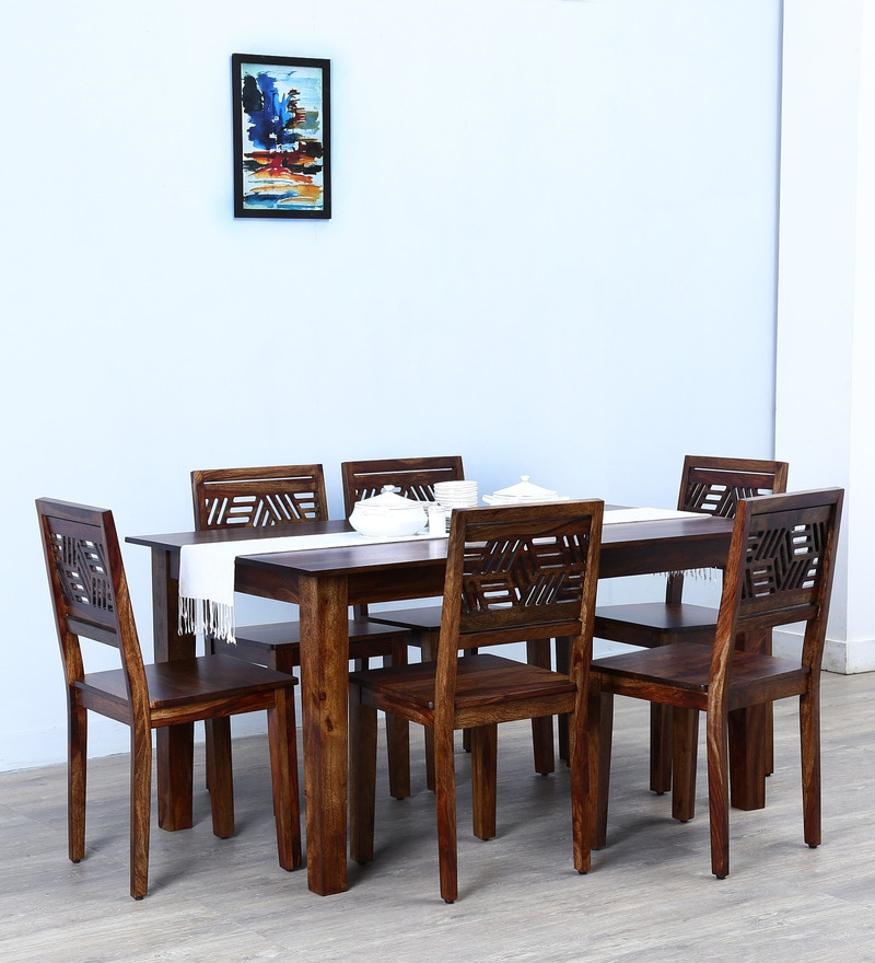 Alder Six Seater Dining Set in Provincial Teak Finish by Woodsworth