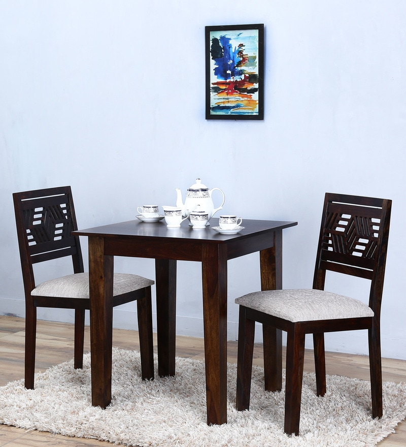 Alder Two Seater Cushioned Dining Set in Warm Chestnut Finish by Woodsworth