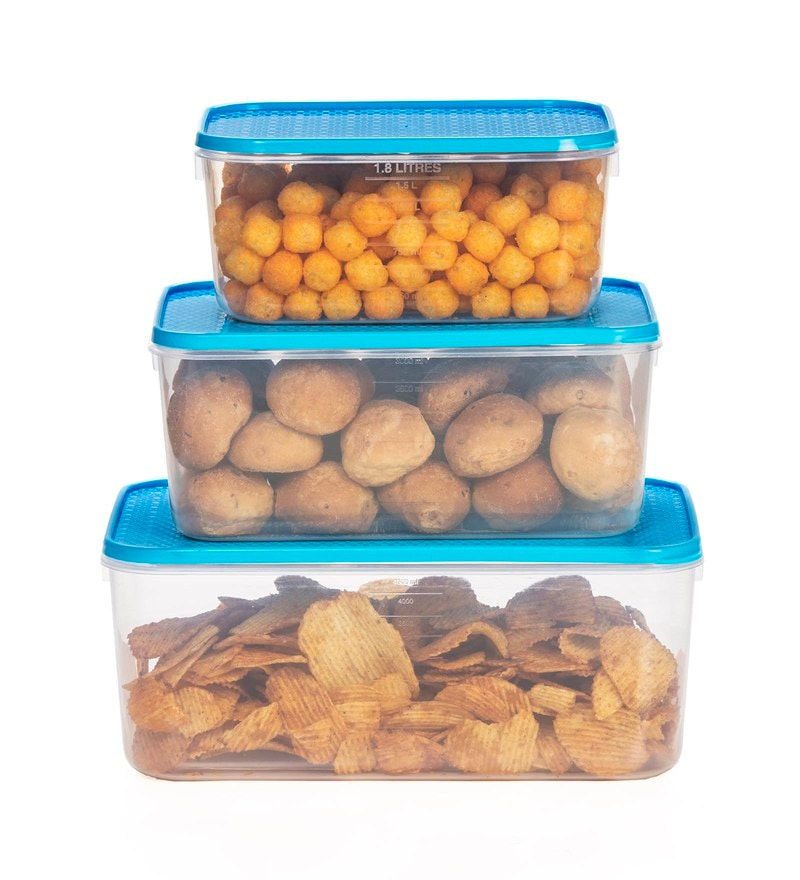 All Time Blue Plastic Polka Containers - Set of 3