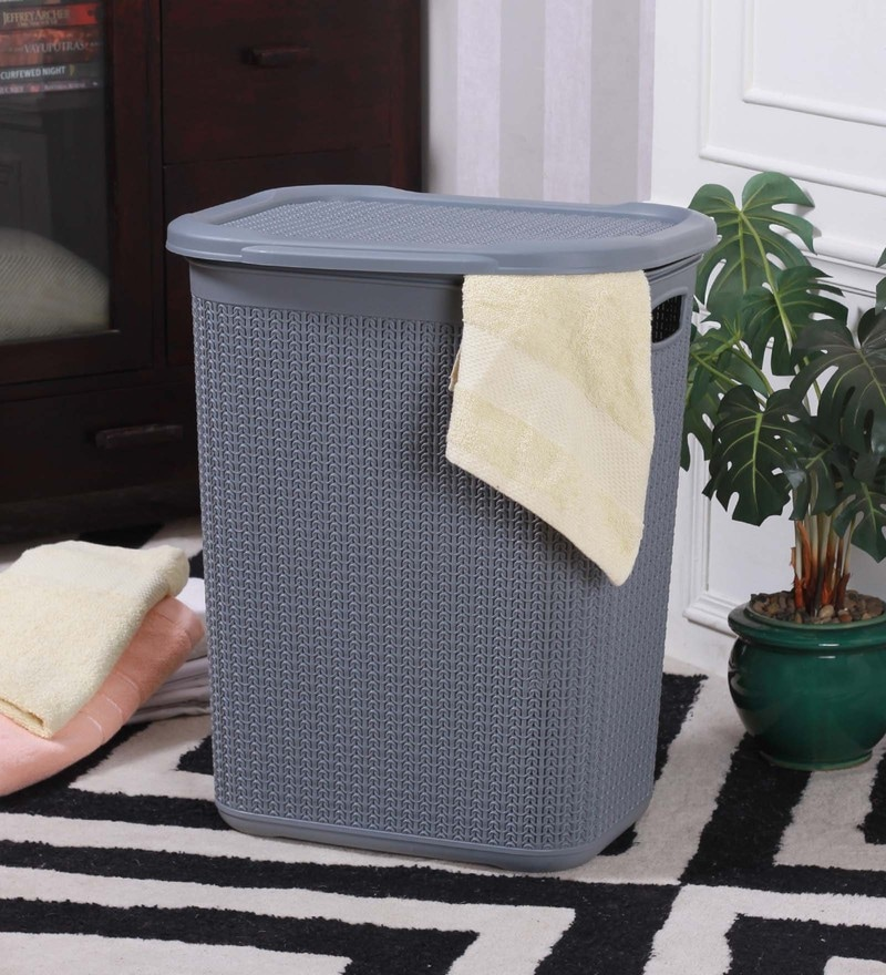 All Time Cresta Knit Plastic 50 L Metalic Grey Laundry Basket with Lid