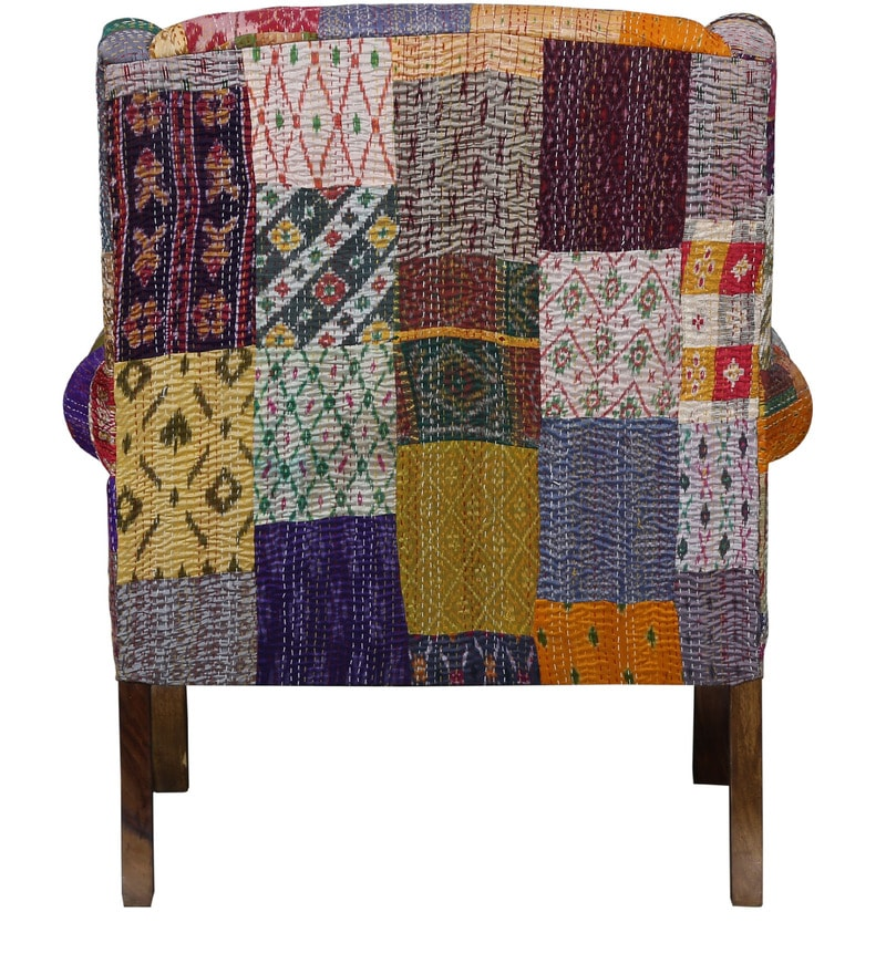 Buy Jermaine Accent Chair With Silk Patchwork In Sheesham