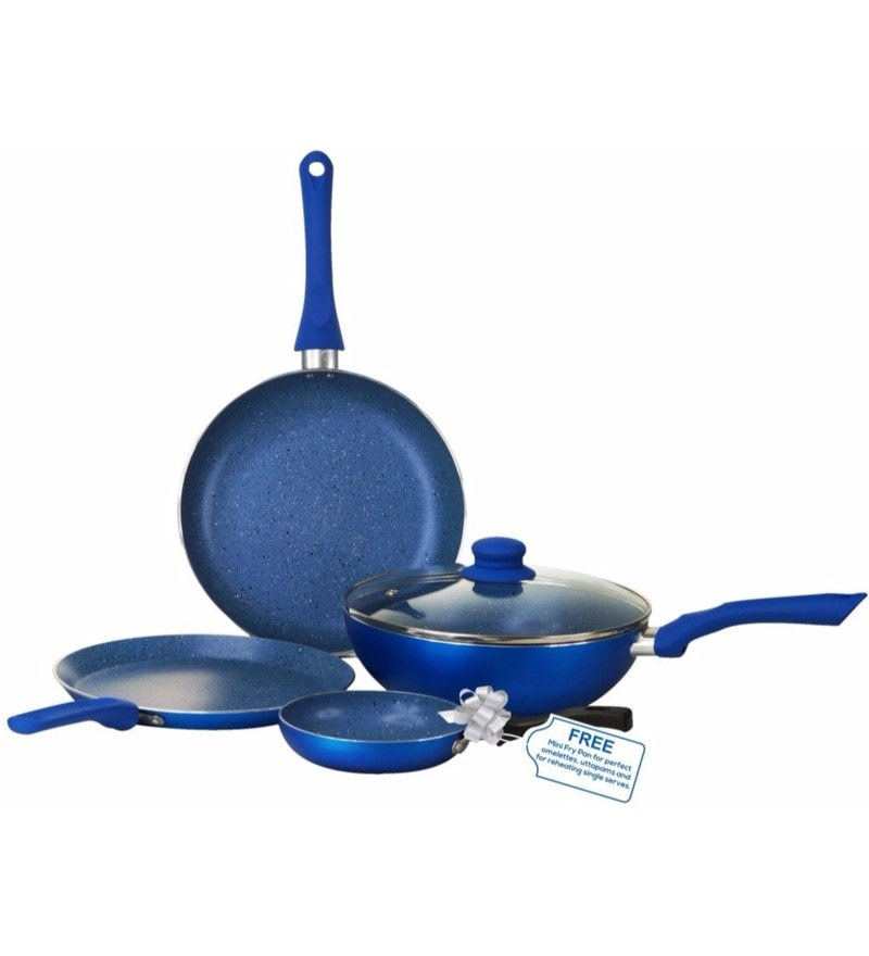 Aluminum with Non-Stick Coating Royal Velvet Blue Cookware Set - Set of 4 by Wonderchef