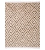 Carpet Overseas Ivory Brown Wool 52 x 65 Inch Lattice Design Eco Friendly Dhurri