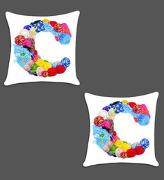 Ambbi Collections Multicolour Satin 16 X 16 Inch Digitally Printed Alphabet Design Cushion Cover - Set Of 2