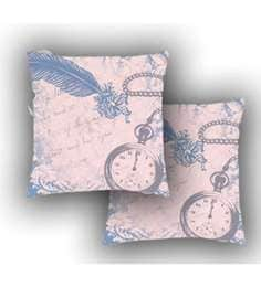Ambbi Collections Multicolour Satin 16 X 16 Inch Digitally Printed Background Feather,Text&Clock Cushion Cover - Set Of 2