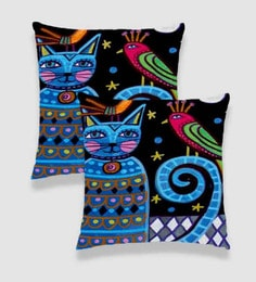 Ambbi Collections Multicolour Satin 16 X 16 Inch Digitally Printed Cat & Bird Cushion Cover - Set Of 2