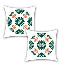 Ambbi Collections Multicolour Satin 16 X 16 Inch Digitally Printed Lines & Floral Design Cushion Cover - Set Of 2