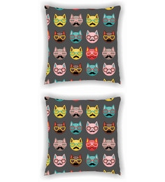 Ambbi Collections Multicolour Satin 16 X 16 Inch Digitally Printed Of Funky Cat Faces Cushion Cover - Set Of 2