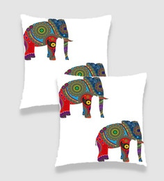 Ambbi Collections Multicolour Satin 16 X 16 Inch Digitally Printed Two Elephant With Traditional Pattern Cushion Cover - Set Of 2