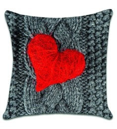 Ambbi Collections Multicolour Satin 16 X 16 Inch Digitally Printed Wool And Heart Design Cushion Cover