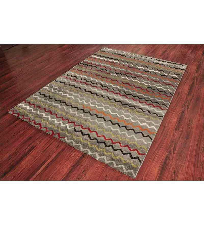 Frosty Grey Polypropylene Modern Carpet by Ambadi