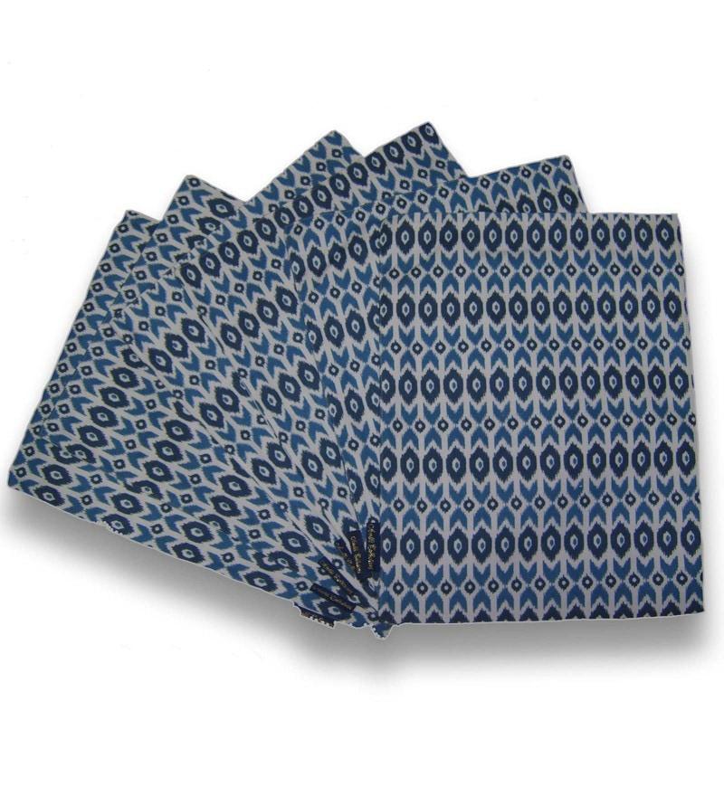 Ambbi Collections Geometric Pattern Blue Cotton Placemats - Set of 6