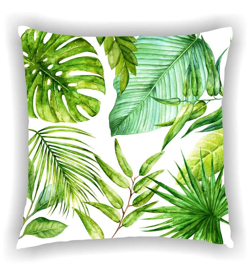 Multicolour Satin 16 x 16 Inch Digitally Printed Bunch Of Leafs Cushion Cover by Ambbi Collections