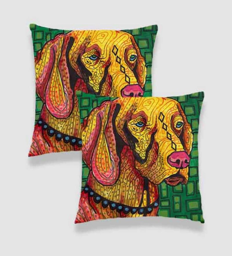 Multicolour Satin 16 x 16 Inch Digitally Printed Geometric Background & Doodled Dog Cushion Cover - Set of 2 by Ambbi Collections