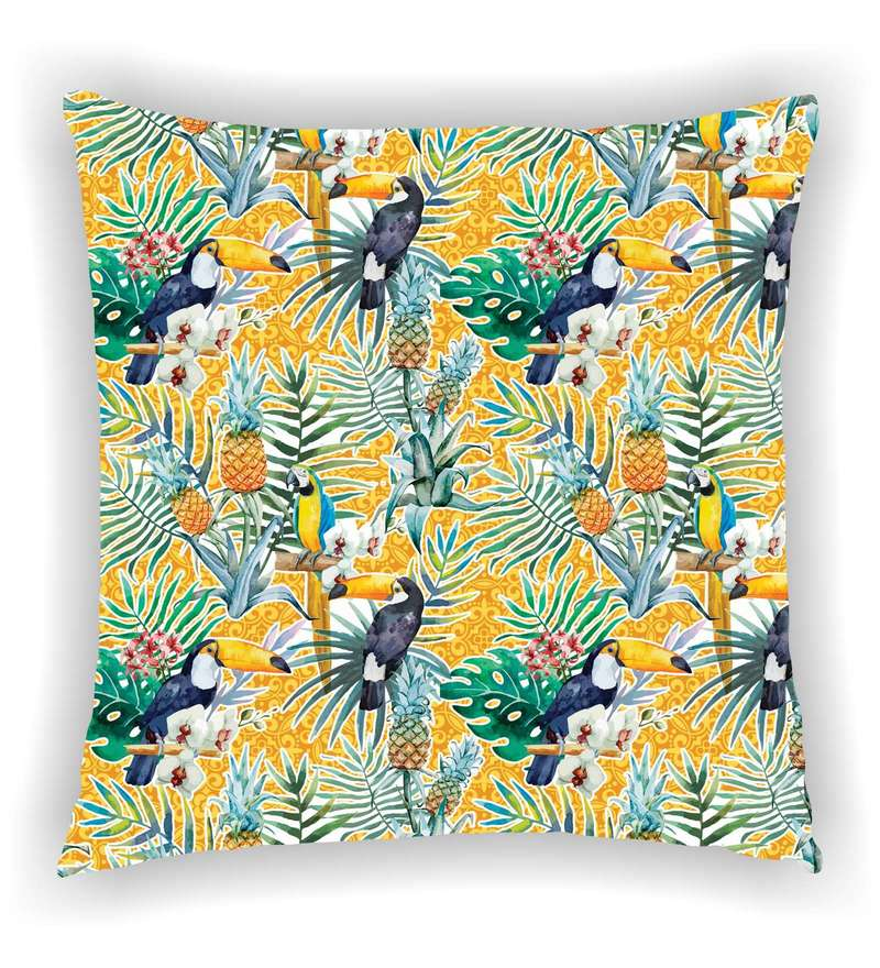 Multicolour Satin 16 x 16 Inch Tropical Parrot with Leafs Cushion Cover by Ambbi Collections