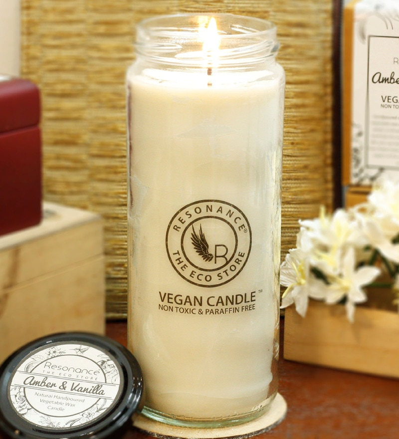 Amber & Vanilla Fragrance Natural Wax Torch Scented Candle by Resonance