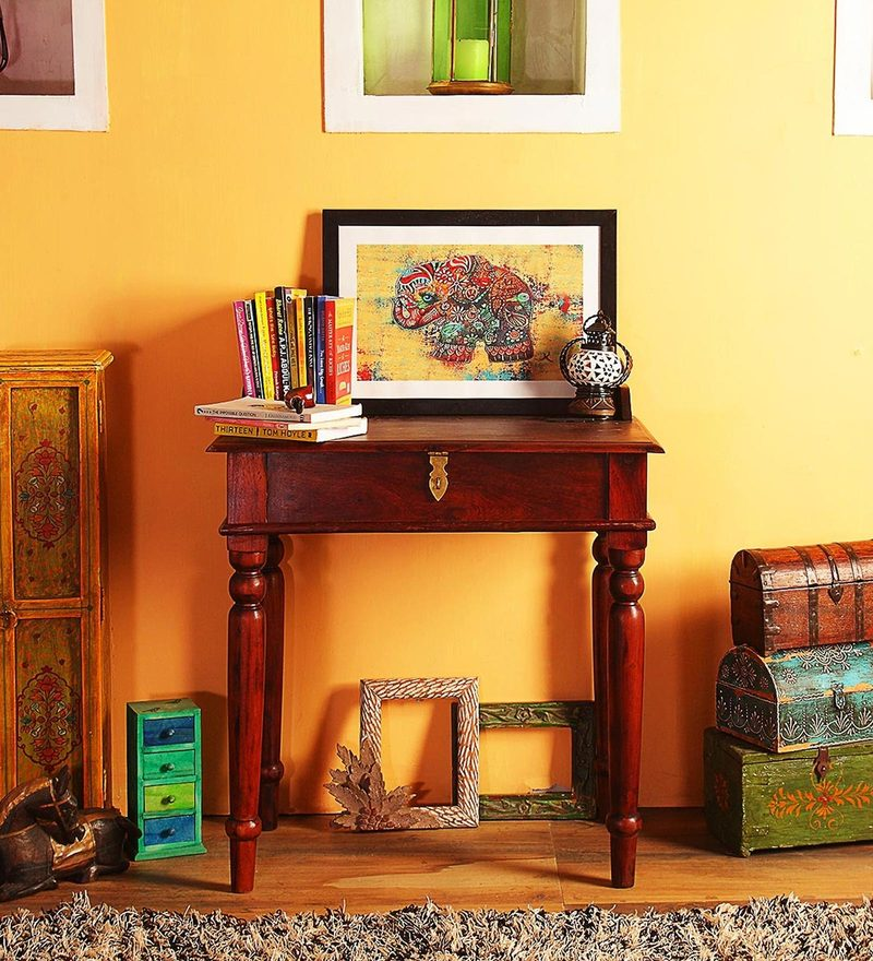 Amble Study & Laptop Table in Honey Oak Finish by Amberville