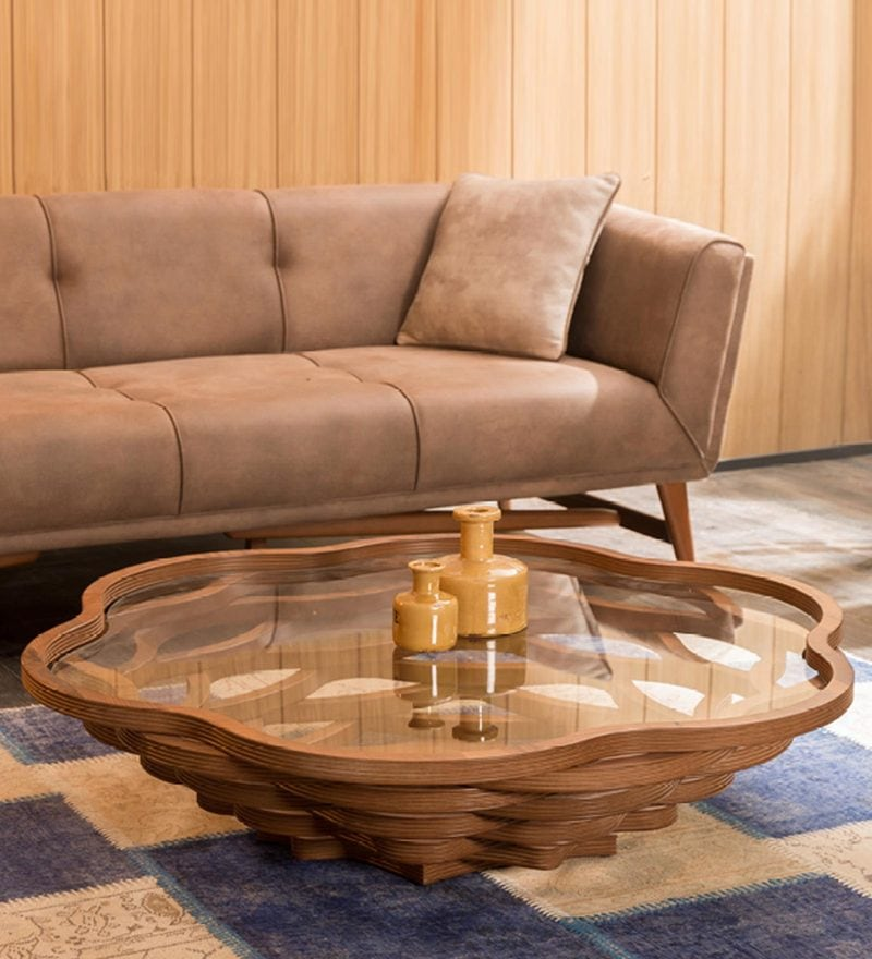 Amora Abstract Coffee Table in Brown Finish by CasaCraft