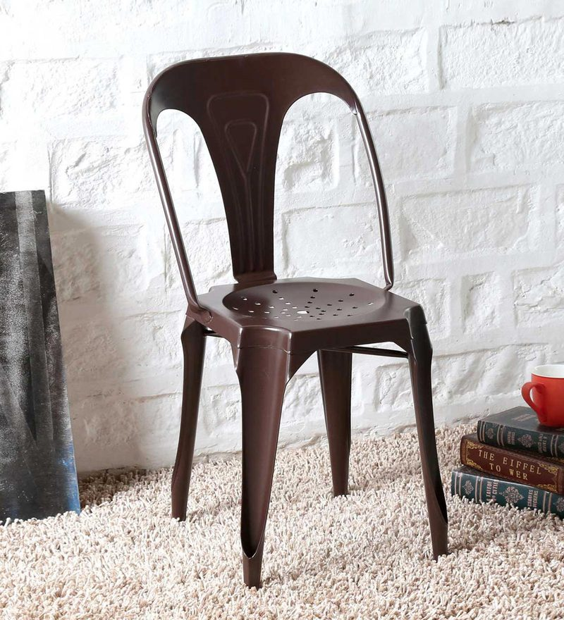 Amos Metal Chair in Brown Color by Bohemiana