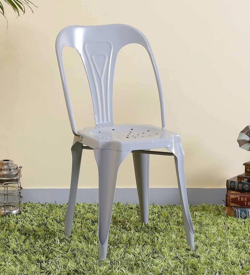 Amos Metal Chair in Steel Grey Color by Bohemiana