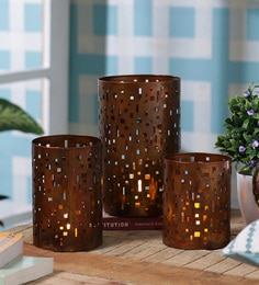 Anasa Copper Metal Hurricane Candle Holder - Set Of 3